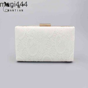 New ladies' luxurious dinner horizontal square lace hand style Printed White bag