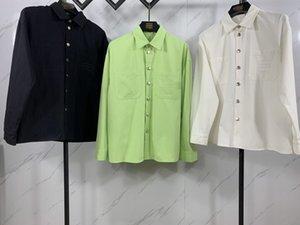 21SS Европейская мода Весна и осень Высокое Качество обратно Телефон Письма Вышивка Печатная Рубашка Роскошный Мужской Дизайнер Черно-белая Зеленая Мужская Тонкая рубашка