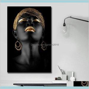 Dipinti Arti, Artigianato Regali Casa Giardino domestico Africano Black Woman Canvas Printing Wall Art Pittura Abstract For and Decor Living Room de