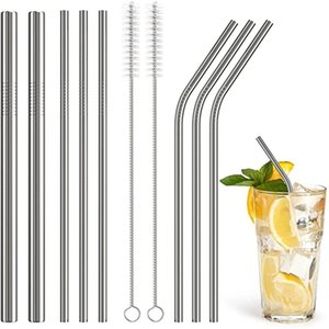 Stainless Steel Drinking Straws Reusable Straight and Bent Metal Straw Cleaning Brush for Coffee Beer Fruit Juice Kitchen Drinking Tool