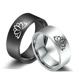 8mm Lotus Flower Mens Band Black Silver Stainless Steel Rings Size Jewelry 6-13
