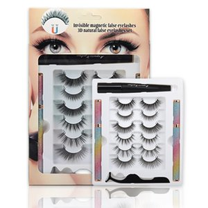 Soft Light Natural 3D Magnetic False Eyelashes Glue-free with Eyeliner Tweezer Makeup Removal Handmade Reusable Magnet Fake Lashes For Eyes DHL Free