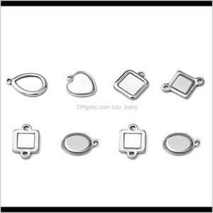 Charms 50Pcslot Fashion Oval Round Square Heart Shape Stainless Steel Pendant Diy Base Cabochon Settings Blank Tray For Cameo Jewelry Kciw6