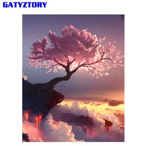 GATYZTORY Frame Abstract Trees DIY By Numbers Landscape Handpainted Oil Painting Modern Wall Art Home Decor Unique Gift