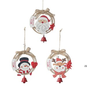Christmas Tree Hanging Ornaments Handmade Wooden Wreath Santa Elk Snowman with Bells Home Party Decorations HWE9772