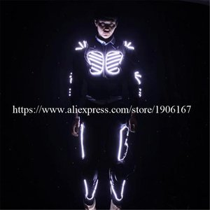 Est Colorful Mens Luminous Led Costume Light Up Clothes Ballroom Dance Robot Suit With Rechargeable Battery Party Decoration