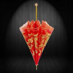 Длинная ручка китайский двойной творческий свадьба невесты красный зонтик