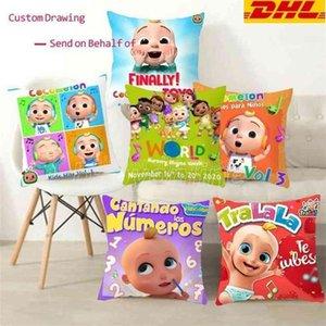 Novel cocomelon cartoon throw pillow case linen cushion covers kids baby room bedding ornaments car sofa pillowcase 45cm comelon family friends printing CS03