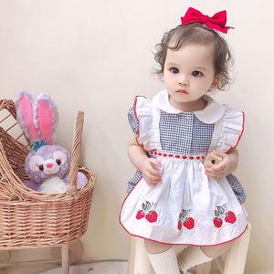 Traje para niños Cekcya Summer Baby Girl Strailberry Bordado Mamélicos Infantil Twins Hermana Matching Ropa para niños Jumpsuit Vintage Plaid