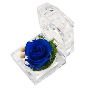 Gift Wrap Valentine's Day Exquisite Eternal Flower Red Rose Proposal Ring Box Acrylic Crystal Marriage Birthday