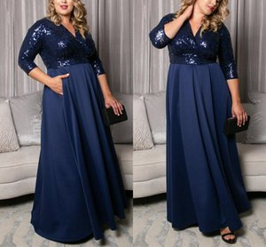Plus Size Mother of the Bride Dresses Shining Sequined Top 3 4 Long Sleeves Women Formal Party Gowns Custom Made Summer Chiffon Evening Prom Dress