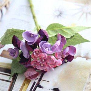 İpek Ortanca DIY Hediyeler Düğün Noel Dekor Ev için Sahte Floristik Plastik Ev Ürünleri Yapay Çiçekler Rattan EEA380