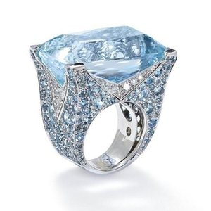 Luxury Large Blue Crystal Stone Wedding Rings For Women Men Vintage Silver Color Engagement Ring Birthday Gift Fashion Jewelry