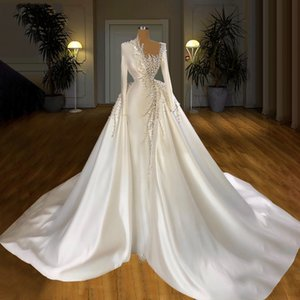 Elegant Pearls Mermaid Wedding Dresses with Overskirt Bridal Gowns High Neck Satin Long Sleeve robes de mariée