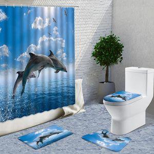 Shower Curtains Bathroom Sets Ocean Dolphin Deep Sea 3D Curtain With 12 Hooks Pedestal Rug Lid Toilet Cover Bath Mat Set