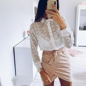 Tops Shirts Blouse Women Long Sleeves Shirts Summer Clothes Sheer Tops Shirt Casual Beach Floral 2020 Fashion UK
