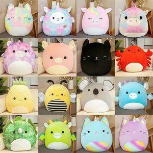 25cm Squishmallow dolls Twenty styles Gummy colorful doll unicorn cat pig bee dinosaur pillow plush toy gift BWF8508