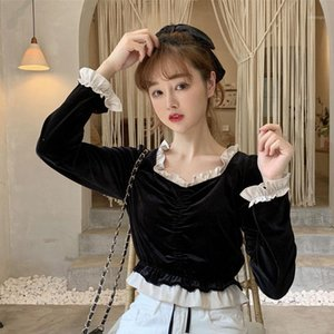 Autumn Velours Crop Top Women Shirt Vintage Petite Girl Ruched Square Neck Blouse Chemise Femme Blusa Mujer1