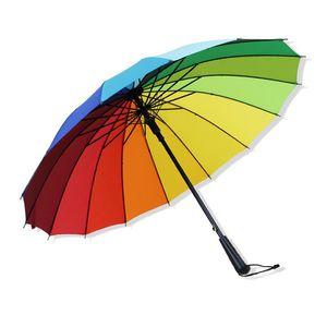 Umbrellas 16 Bone Automatic Long Handle Umbrella Business Straight Advertising Rainbow Solid Color Windproof And Rainproof