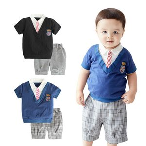 Baby Clothing Sets Boys Suit Infant Outfits Summer Cotton Short Sleeve Ties T-shirts Tops Shorts Pants 2Pcs Toddler Clothes B4690