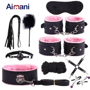 Bondage 10Pcs Exotic Sex Products For Adults Games Leather BDSM Kits Handcuffs Toys Whip Gag Tail Plug Women Accessories