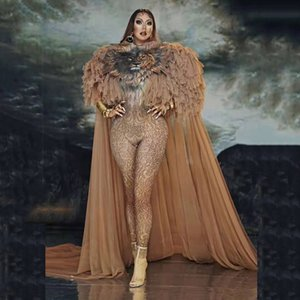 Модный дизайн косплейный боди костюм костюм Tiger комбинезон большой плащ набор певица сексуальная сцена танца выпускная модель модель шоу наряд