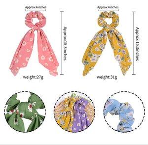Larga cinta de caballo de cola de caballo Impresión floral Bandas elásticas para Lady Girl Pein Lazs Bufanda para diademas accesorios OOD5880