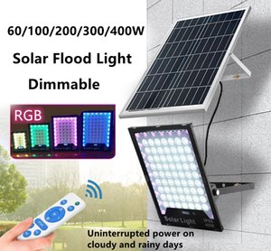Solar Lamp Led Street Light Outdoor Floodlight RGB Dimmable 400 300 200 100 60W Waterproof Courtyard Wall Garden Lamps with Remote Control