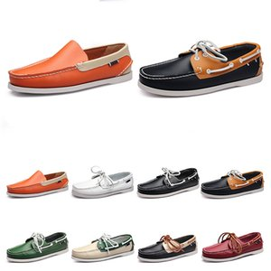 111 Mens casual shoes leather British style black white brown green yellow red fashion outdoor comfortable breathable