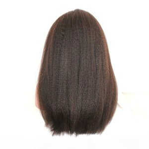 Natural Color Kinky Straight Wig For Black White Woman Remy Vrigin Wigs Brazilian 150% Density Human Hair Front Lace Swiss Lace Free Ship