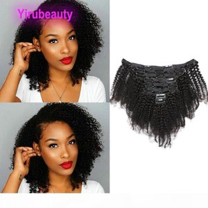Peruvian Human Hair Afro Kinky Curly Clip In Hair Extensions 8-24inch 120g Natural Color Afro Curly Virgin Hair Yirubeauty