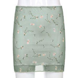 Women Mesh Double Bodycon Mini Skirt Floral Print Green Sweat Cute Ruffles Hem High Waist Straight Skirt Y2K Summer Streetwear