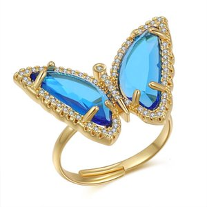 Korean version 2021 New Ring Gold Plated micro inlaid Blue Butterfly Necklace clavicle chain