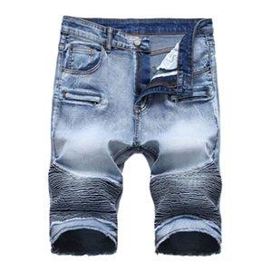 الصيف جديد السائق موتو رجل الدينيم السراويل الأزياء مطوي سستة يتأهل الرجال الجينز السراويل كبيرة الحجم