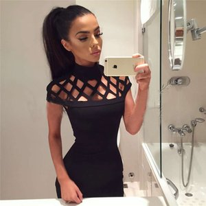 New Fashion Womens Sexy Hollow Out High Neck Dress Ladies Bodycon Slim Short Sleeve Evening Party Pencil Mini Dress