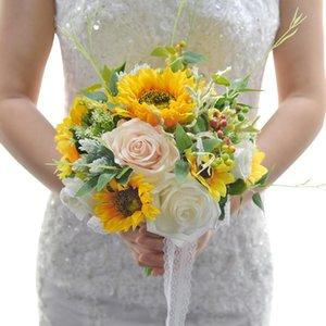 Düğün Çiçekleri 2021 varış Gelin Buketleri Ayçiçeği Pembe ve Fildişi El Yapımı 26 * 28 cm