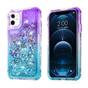 Für Samsung A32 A52 A72 A71 A51 Telefon Hüllen Gradient 3 in 1 PC TPU Bling Quicksand Glitzer Rückseite B