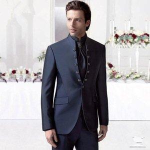 Handsome Double-Breasted Groomsmen Mandarin Lapel Groom Tuxedos Men Suits Wedding Prom Dinner Blazer(Jacket+Pants+Tie) 039 Men's & Blazers