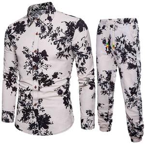 Feitong Drawsring Pantalons de survêtement Style de mode Ensembles d'hommes à manches longues Business élégant Slim Fit Critère 3D Floral Imprimé Set # G30