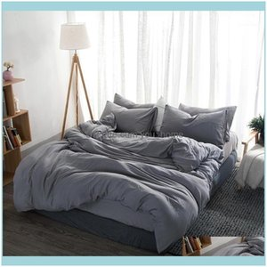 Sets Supplies Textiles Home & Gardensoft Washed Cotton Family Bedding Set Gray Linen Queen King Duvet Er Bed Sheet Pillowcase Adult Solid Co