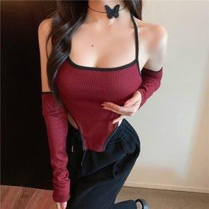 Women's T-Shirt Kawaii Girl Autumn Halter Neck Sexy Lace Up Hollow Out Long Sleeve Top Women Tees Irregular Tshirt Korean D0L2