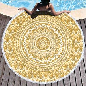 Mandala Beach Towel 150cm Round Beach Blanket Towel Fabric Printed Tablecloth Bohemian Tapestry Yoga Mat Covers ZZC4941