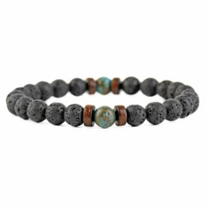 8mm Black Oil Diffuser Lava Rock Bead Strand Bracelet Wood beads bracelets for women men fashion jewelry will and sandy