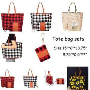 Designers Plaid Leopard Duffel Bag Big Travel Striped Tote Sunflower Print Shopping Handbag with Small Clutch Bag Sarah Large Weekenders Bag for women D11505