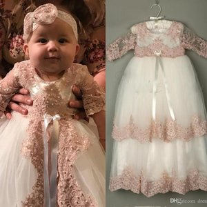 Lovely Long Christening Dresses For Baby Girl With Half Sleeves Baptism Gown Pearls Lace Appliqued Kid First Communication Dress