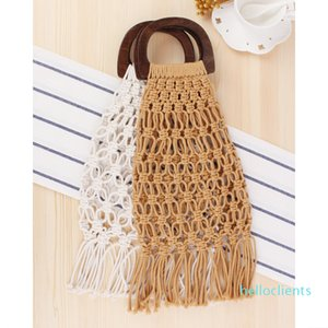 Women Handbags Woven Bags Top-handle Female Beach Bags for Summer Travel shopping Bags with Wooden 2020 Bohemia Tassel
