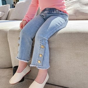 Children's Jeans 2021 Girls' Spring Three Button Korean Flared Pants