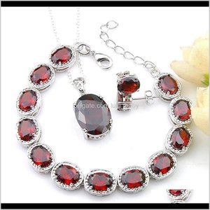 Bracelet Drop Delivery 2021 Luckyshine 3 Pcs Lot Ellipse Ruby Fashion Jewelry Sets 925 Sier Necklace For Women Girl Pendants Stud Earrings Pe