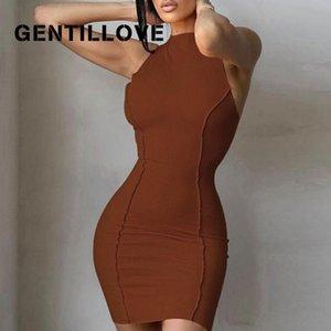 Gentillove Women Summer Sexy Solid Skinny Skim Elegant Screw Thread O-Neck Sleeveless Party Club Buttocks Street Mini Dress Casual Dresses