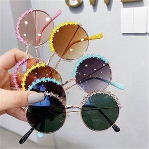 نظارات شمسية للأطفال الصيف أزياء زهرة، نسيج معدني، مرآة تظليل أشعة الشمس